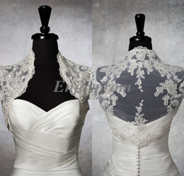 Wholesale Custom Made White Tulle Appliques Lace Sequins Bridal Bolero Jacket Real Image