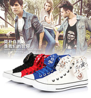 Wholesale men s high top canvas shoes student shoes vulcanized shoes Korean version of hip hop basketball