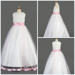 Wholesale New Best Seller White Crew Ball Gown Beads Floor length Sash Organza First Communion Dress