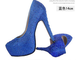 Wholesale Fashion Prom heels wedding shoes women high heels crystal high heel shoes platforms Silver Rhinestone Pumps CM drop shipping