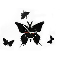 Living Room China (Mainland) Graphic vinyl 6 pcs Unique DIY Adhesive Butterfly Movement Wall Clock Home Decoration