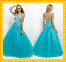 Wholesale New Arrival Aqua Sweetheart Corset Ball Gowns Tulle Crystals Sequin Prom Dress Evening Bridesmaid Party Formal Dresses Gown
