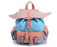 Wholesale Women Angel Wing Faux Leather Backpack Bag Schoolbag Tote Handbag cute Pink