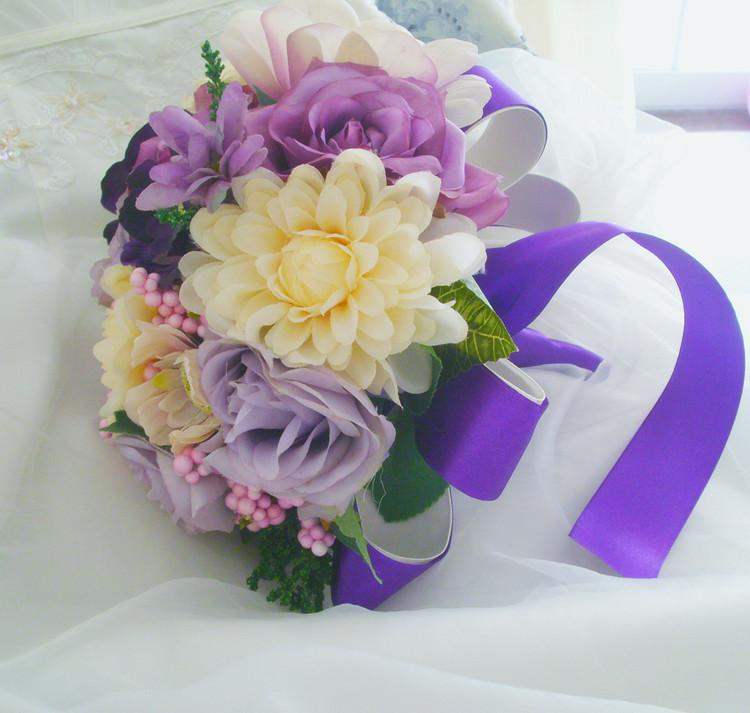 Artificial Wedding Bouquets In Sydney : Purple ivory silk noble flower bouquet with