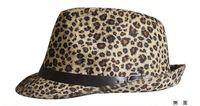 Wholesale Adult Leopard printed Fedora Hat Short Brim Warm Cap British Style Adult Fedora Women Small Brim Hats Unsiex Brown Fedora Wit Black Belt