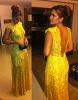 Wholesale DHL Shipping Custom Made Modest Cap Sleeves Backless Yellow Lace Floor Length Formal Evening Dress Vestidos Formales Prom Party Gowns