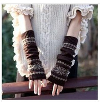 Wholesale The new han edition winter snow long thickening warm woolen gloves fingerless half refers to the set of knitted arm