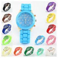 Wholesale Geneva New Style Watch Jelly wristWatches Three circles Display Silicone Strap Candy Color Unisex colors