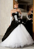 Reference Images latest bridal wedding gowns - Latest Gothic White and Black Wedding Dresses Hot sale Unique Ball Gown Bridal Gowns with Neckline Lace Applique Pleats Wedding Dress