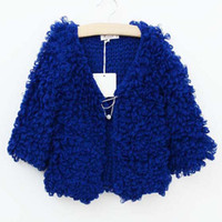 Wholesale Girls V Neck Cardigan Knitted Sweaters Long Sleeve Cardigan Children Clothes Wool Sweaters Kids Clothing Child Casual Cardigan Sweater Coat