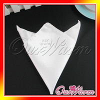Wholesale Pieces White Satin Table Dinner Napkin quot Square Men Pocket Handkerchief Multi Purpose Wedding Party Decor New