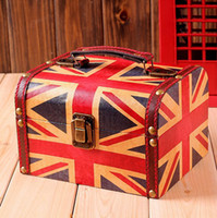 Wholesale retro British style hand painted jewelry box suitcase creative British Union Jack flag U S flag two zsj11