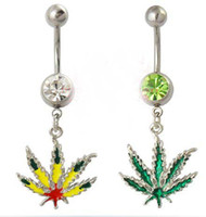 Wholesale pieces dangle leaves belly navel ring fashion leaf body piercing jewelry G Surgical Steel