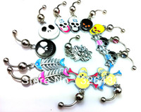 Fashion button skull - 12PCS all kinds of different design Belly Button Navel Ring Piercing Body Jewelry Hot Sexy Charm Fashion skull belly ring