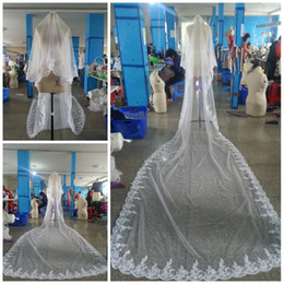 Wholesale 2013 Cheap Veil New Layer Cathedral Length Appliques edge Best selling New Arrival