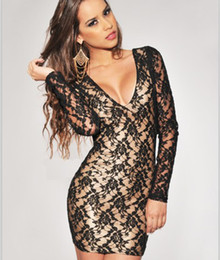 Wholesale New Arrival Lace Embroidery Dress Euro Style Long Sleeve V Neck Backless Pencil Dress Party Dresses For Women Nightclub NA0947