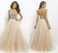 Tulle beaded tulle fabric - Custom Charming Champagne Strapless Empire Crystals Bling Sequins Fabric Evening Dress Pageant Formal Prom Bridesmaid Dress Gown