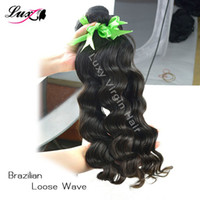 Wholesale Luxy Brazilian Virgin Hair Loose Wave Hair A Top Grade Human Hair Extension Free Shiping Natural Color b inch on DHL