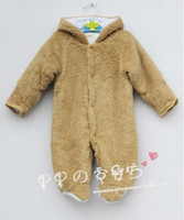 Unisex Winter  hot sale wholesale Autumn and winter baby clothes baby clothing coral fleece animal style clothing romper baby bodysuitbrown pink bear grey
