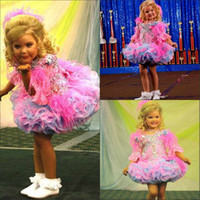 Wholesale 2014 New Arrival Jewel Neckline Girls Pageant Dresses Tiered Organza Beads Mini Half Sleeves Girls Cupcake Pageant Dress New Girl Dress