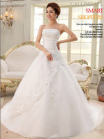 Wholesale Lace Dress White Wedding Dress Sweep Train Strapless Backless Sequins Dress Pleat Design Ribbon on Back Hot Sale New Fashion Discount W03