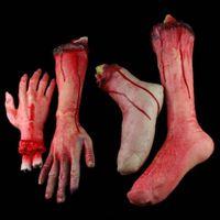 Wholesale 4pcs set Halloween props haunted house decorations realistic horror toys Simulation blood broken Limb finger Leg foot hand arm