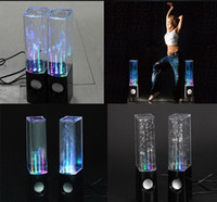 Wholesale Water music fountain Speaker Mini Speaker Colorful Water drop LED Lamp Dancing one pair USB for phone computer laptop mp3