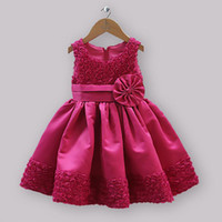Wholesale Christmas New Arrival Infant Party Dresses For Girls Kids Satin And Lace Princess Rose Dress Baby Halloween Wear Hot Sellers GD30928