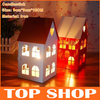 Wholesale Candle Holders wedding decoration cm cm cm Retro Small House Metal Candlestick Candlesticks