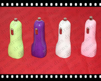Wholesale New colourful Dual Port USB Car Charger A v DC for iPad iPhone G G S iPod A DHL Fedex