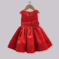 Wholesale Hot Sale Christmas Kids Party Dress Red Satin And Lace Flower Princess Dress Girls Rose Fashion For Halloween Children Clothing GD30928