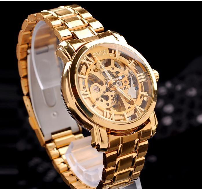 Полный золотые часы мужчины люксовый бренд MCE автоматического самообслуживания ветер часы мужские полный стали часы