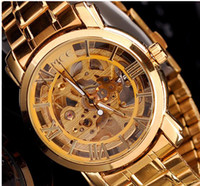 Wholesale Send free PCS2013 Gold Watch Mens Skeleton Mechanical Fashion Luxury Watch Stainless Drop Shipping MCE