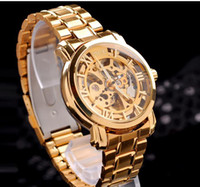 Wholesale Send free Gold Watch Mens Skeleton Mechanical Fashion Luxury Watch Stainless Drop Shipping MCE