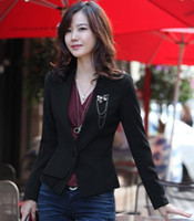 Jackets Women Cotton women 9911 fall and winter clothes new Korean version of the thick section OL lady business suit black suit jacket