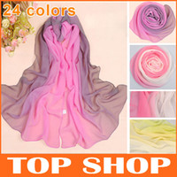 Wholesale Fashion Long Chiffon Scarf Gradient Shawl Wraps CM Colors Silk Scarves For Women