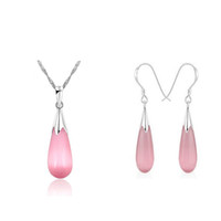 Opal silver - Silver Waterdrop Shape Jewelry Sets Guaranteed Solid Sterling Silver Jewelry Sets With Pink Opal
