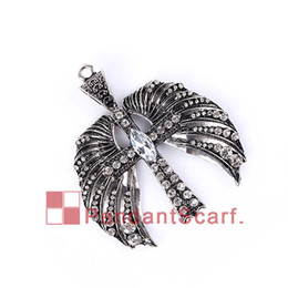 Wholesale 12PCS New Design DIY Jewellery Necklace Scarf Findings Mental Alloy Rhinestone Angle Wings Cross Charm Pendant AC0241