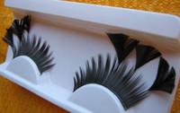 10 paires / lot de nouvelles formes cils faits à la main plats triangulaires noirs plumes faux cils magnifiques exagération stade mariage fête maquillage