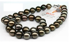 NEW FINE PEARL JEWEJRY natural stunning 10-11mm tahitian black red green pearl necklace 18inch 925silver clasp