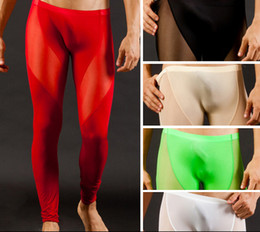 Wholesale Free Shippig Sexy Mens Thermal Underwear Pants Long Smooth Pants Transparent Long Johns Pants Mesh See through Pants Trousers Bottoms S M L