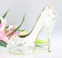 Wholesale New sexy white high heel open toe platform spring white lace satin wedding bridal shoes women platform shoes heels