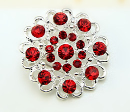 Red Rhinestone Crystal Silver Hearty Small Flower Brooch Pin