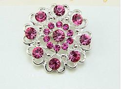 1.2 Inch Sparkly Silver Plated Hot Pink Rhinestone Crystal Diamante Hearty Small Flower Brooch Pin