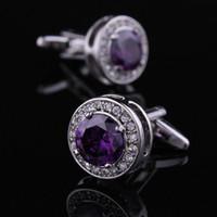Wholesale Lastest purple crystal brass men s cufflinks french shirt unique cuff links