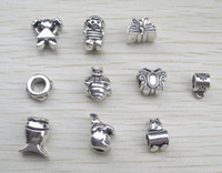 Wholesale 100pcs big hole antique animal amp figure metal beads fit European bracelet jewelry DIY charms mix order