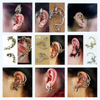 Wholesale Ear Cuff Mixed Designs Dragon Snake Pterosaur Punk Alloy Earrings Ear Loop Golden and Silver Color