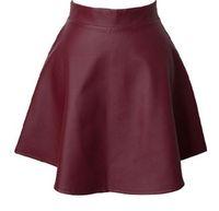 Wholesale 2014 Autumn Winter Women Burgundy Faux Leather Short Skirt Pleated Skirt Black Designer Hot Sale Vintage Retro Grils Casual Clothings