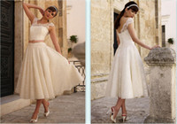 Wholesale New arrival Princess Graceful A line Off the shoulder Sash Lace Tea length Wedding Dresses