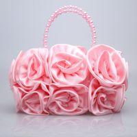 Wholesale Ladies Satin Rose Clutch Wedding Party Handbag Evening Flower Bag Choose Colours